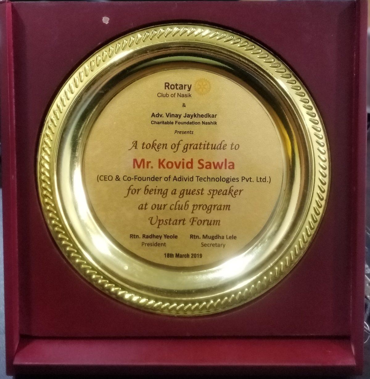 Felicitation by Rotary Club Nashik