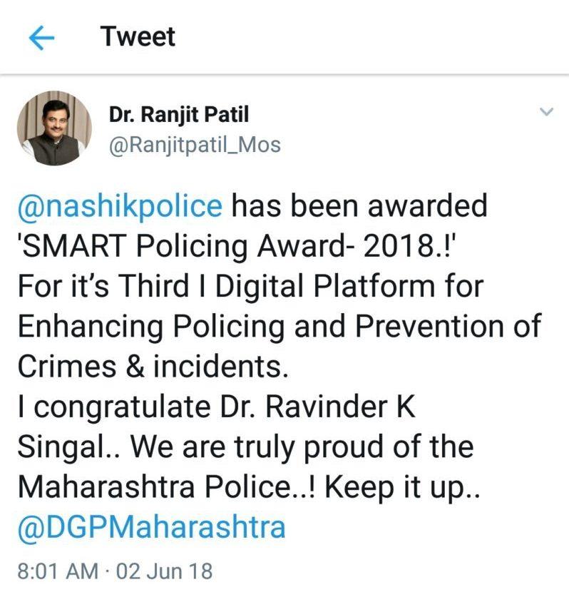 Tweet by Dr. Ranjit Patil