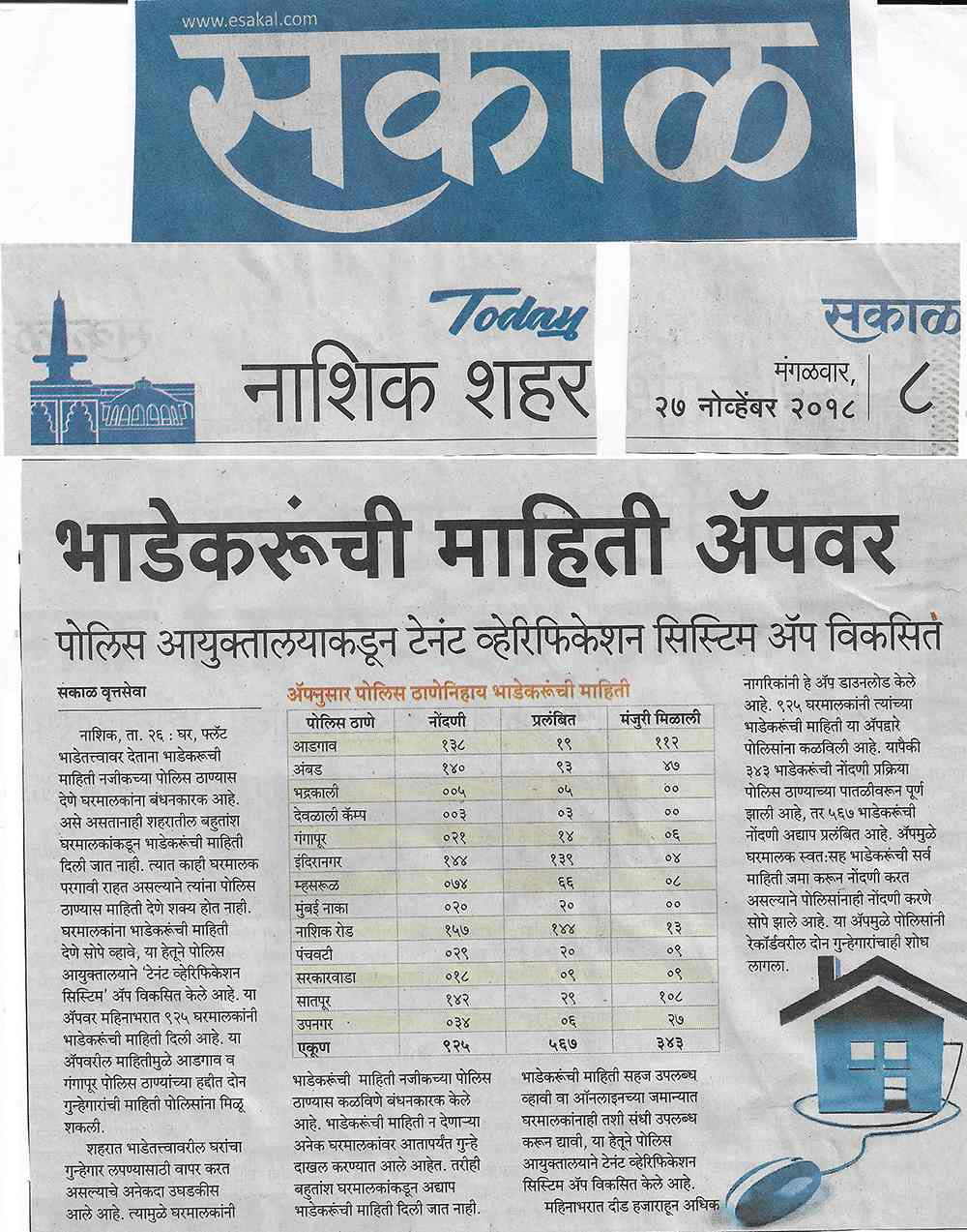 Tenant Verification System - Sakal
